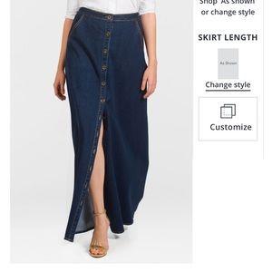 EShakti high waisted denim button front maxi skirt